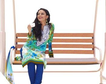 Hypnotex Blue and Green Cotton Dress Materials