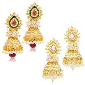 Gorgeous Jhumki Gold Plated Set of two Pair Earring Combo For Women