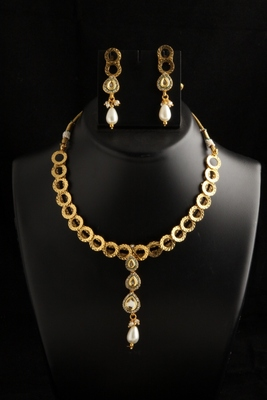 Ring designed gold plated ethnic jewellery necklace set