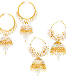 Divine Jhumki Gold Plated Set of two Pair Earring Combo For Women