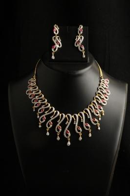Designer american diamond cz necklace set with ruby