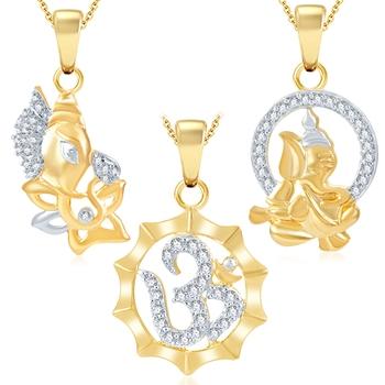 Ravishing Ganesha Gold Plated Set of three God Pendant with Chain Combo