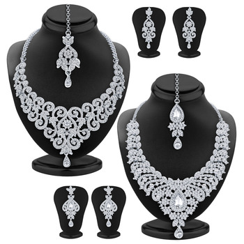 Angelic Rhodium Plated AD Set of two Necklace Set Combo For Women