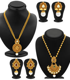 Buy Wavy Gold Plated Kundan Set of two Necklace Set Combo For Women jewellery-combo online