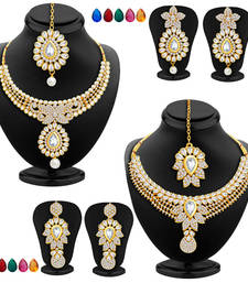 Buy Royal Gold Plated AD Set of two Necklace Set with Set of 10 Changeable Stone Combo For Women women-ethnic-wear online