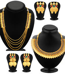 Shimmering Laxmi Temple Coin Gold Plated Set of two Necklace Set Combo For Women