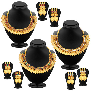 Glistening Laxmi Temple Coin Gold Plated Set of three Necklace Set Combo For Women