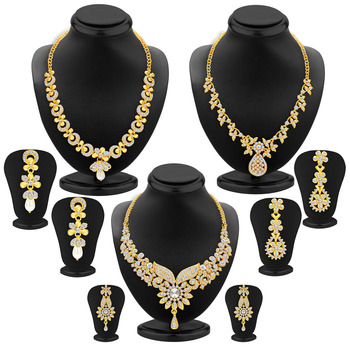 Intricately Gold Plated AD Set of three Necklace Set Combo For Women