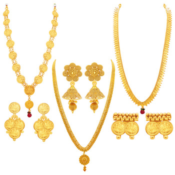 Youthful Laxmi Temple Coin Gold Plated Set of three Necklace Set Combo For Women