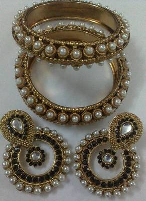 Designer Earings with Traditional Kadas
