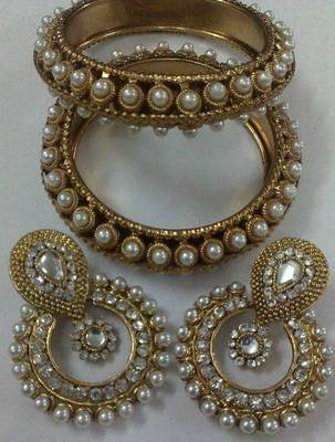 Designer Earings with Traditional Pearls Bangles