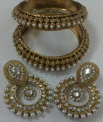 Designer Earings with Traditional Pearls Kadas