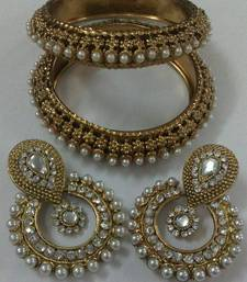 Buy Designer Earings with Traditional Pearls Kadas eid-jewellery online