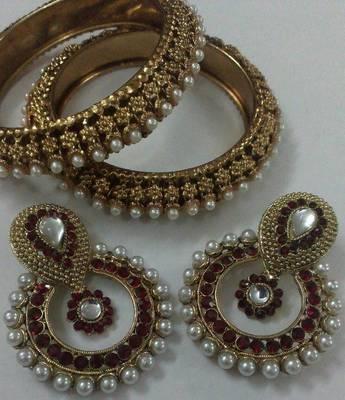 Designer Earings with Traditional Kadas