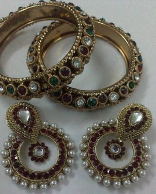 Designer Maroon colour Earings with Traditional Multi colour Kadas