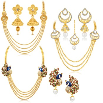 Gorgeous Peacock Gold Plated Set of three Necklace Set Combo For Women
