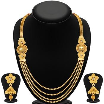 Stylish Jalebi 4 String Gold Plated Necklace Set For Women
