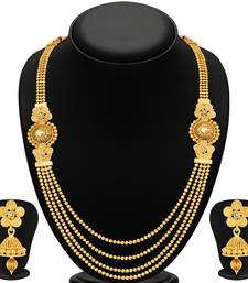 Stylish Jalebi 4 String Gold Plated Necklace Set For Women