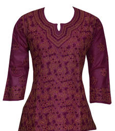 Buy Hand Embroidered Medium Purple Tusser Silk Lucknow Chikankari Top heavy-work-kurti online