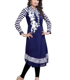 Buy Navy Blue Embroidered georgette Umbrella Style Kurti long-kurti online