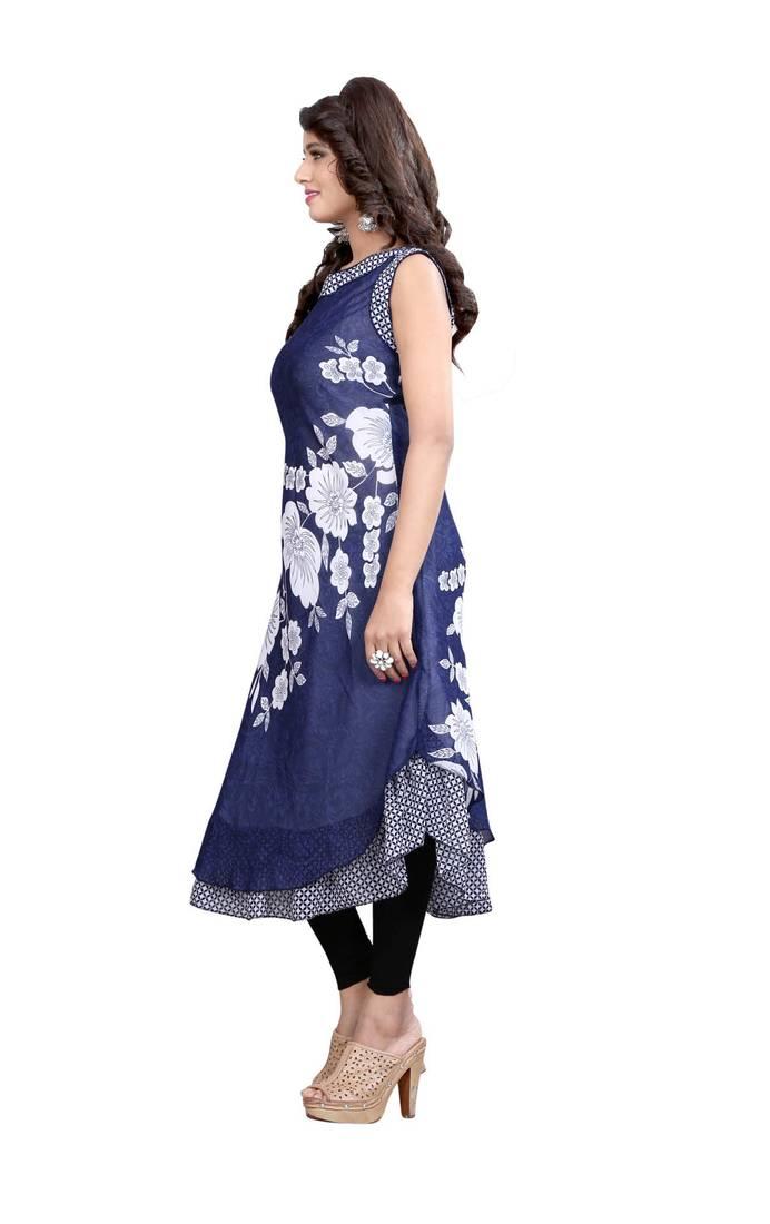 Buy Navy Blue Printed Georgette Umbrella Style Kurti Online