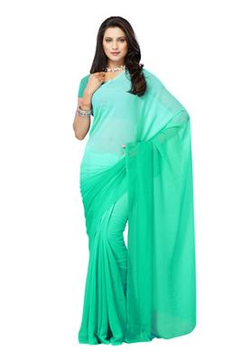 DyeFab Light Green Colored Chiffon Padding Plain Saree