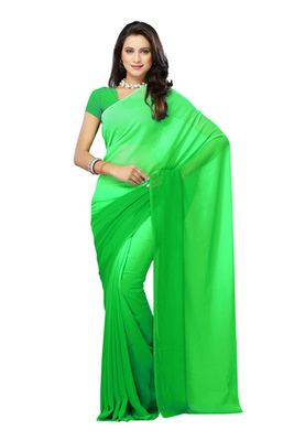 DyeFab Green Colored Georgette Plain Saree