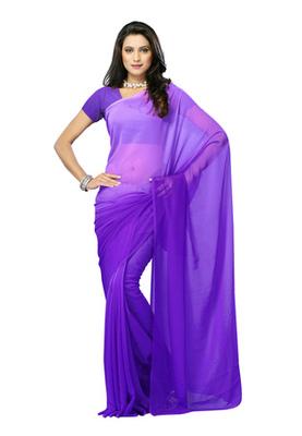 DyeFab Purple Colored Chiffon Padding Plain Saree