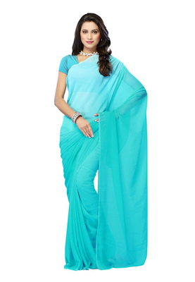 DyeFab Light Blue Colored Chiffon Padding Plain Saree