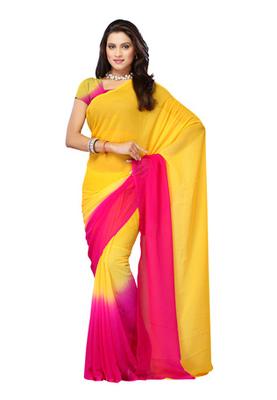 DyeFab Yellow Colored Chiffon Padding Plain Saree