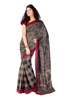 Fabdeal Grey Colored Bhagalpuri Cotton Printed Saree