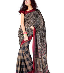 Buy Fabdeal Grey Colored Bhagalpuri Cotton Printed Saree  printed-saree online