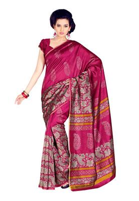 Fabdeal Magenta Colored Bhagalpuri Cotton Printed Saree
