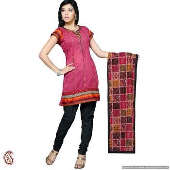 Red Cotton lace work kurta Churidar Set