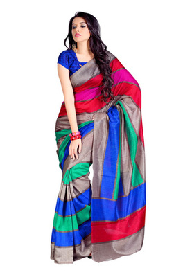 Fabdeal Light Brown Colored Bhagalpuri  Silk Printed Saree