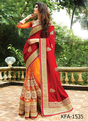 Red And Orange Embroidered Net Saree With Blouse