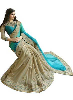Cream And Cyan Embroidered Georgette Saree With Blouse