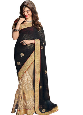 Black And Cream Embroidered Georgette Saree With Blouse