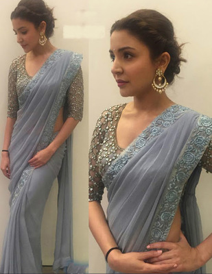 Gray Embroidered Georgette Saree With Blouse