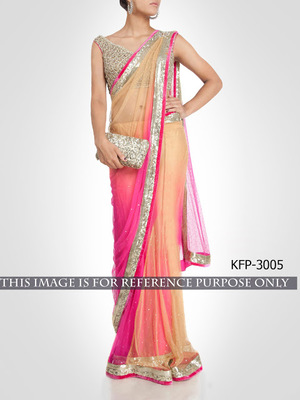 Pink And Cream Embroidered Net Saree With Blouse