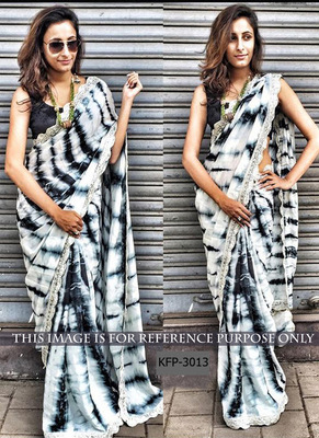 Black And White Embroidered Silk Print Saree With Blouse