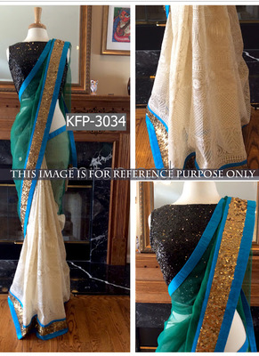 Cream And Aqua Green Embroidered Net Saree With Blouse
