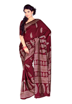 Fabdeal Maroon Colored Tussar Silk Printed Saree