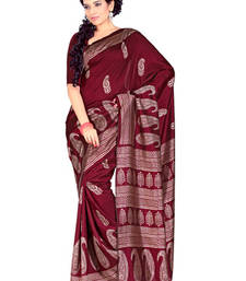 Buy Fabdeal Maroon Colored Tussar Silk Printed Saree  tussar-silk-saree online