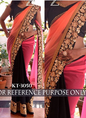 Pink And Orange Embroidered Georgette Saree With Blouse