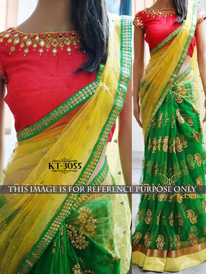 Yellow And Green Embroidered Net Saree With Blouse