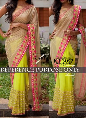Yellow And Beige Embroidered Silk Saree With Blouse