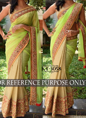 Parrot Green And Cream Embroidered Georgette Saree With Blouse