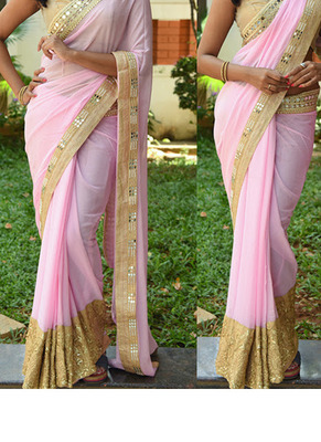 Light Pink Embroidered Georgette Saree With Blouse