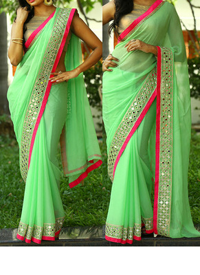 Pista Embroidered Georgette Saree With Blouse